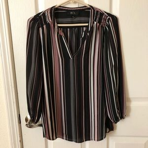 Full Sleeve Vertical Lined Purple and Black Top